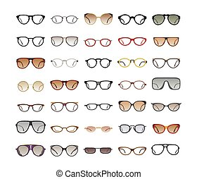 Color Sunglasses on white background - collection of...