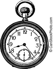 Old pocket watch - Engraving of an old pocket watch