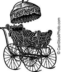 Vintage baby stroller - Engraving of a vintage baby stroller...