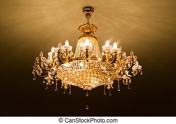 De focused of big crystal chandelier