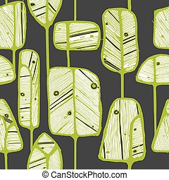 Seamless pattern design with abstract doodle trees