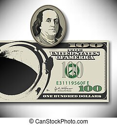 Surreal 100 dollar bill elements  for Print or Web