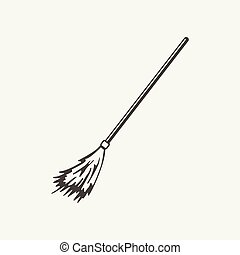 illustration of broomstick. Black and white style