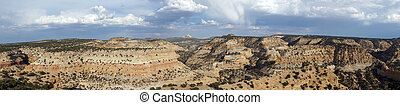Panoramic of San Rafael Swell Valley landscape with space...
