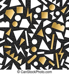 Gold 80s 90s retro seamless pattern background - Fancy...