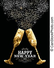 Happy new year 2016 toast glass low polygon gold - Happy new...