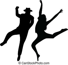 Couple of Dancers Silhouette on white background Editable...