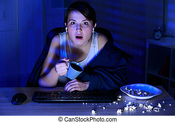 Spending night on the computer - Girl spending all night on...
