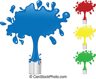 Blue, Red, Yellow and Green Paint Splash Buckets. Editable...