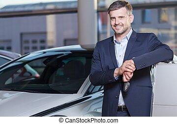 Happy car dealership client - Portrait of happy car...