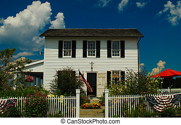 house, home, colonial, white, shutter, picket, fence,...