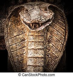 Escultura, de, Un, cobra, snake.,