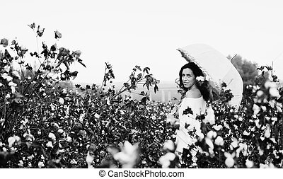 beautiful woman holding umbrella and standing in cotton...