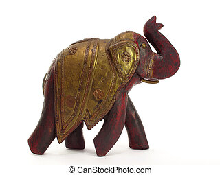 Decorative elephant - sassy hand carved red elephant with...