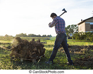 woodcutter - Farmer cuts wood with his strong axe