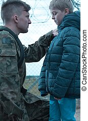 Soldier leaving son