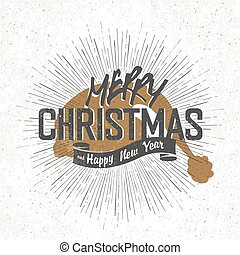 Merry Christmas Vintage Monochrome Lettering with Santa`s...