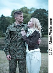 Soldier in love - Young soldier on pass is visiting his...