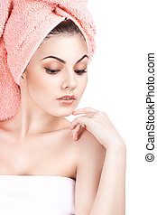 portrait of a girl cares for the skin. Isolation on a white...
