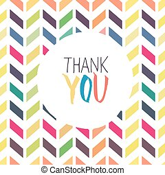 Thank you card with chevron colorful background