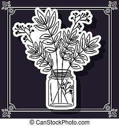 Flower vase design - Flower concept over frame background...