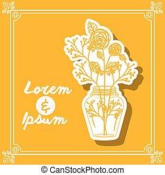 Flower vase design - Flower concept over frame background...