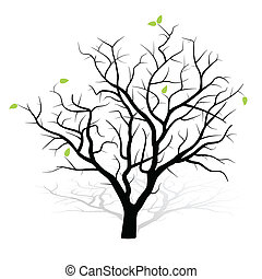 Revived Tree Icon with leaves isolated on white