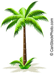 Palm Tree - Green Palm Tree Icon with grass isolated on...