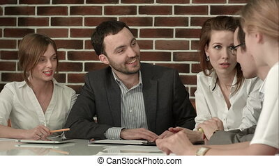 Businesspeople Having Meeting In Office People