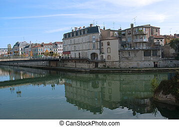 european city - City view from the river - Verdun, France