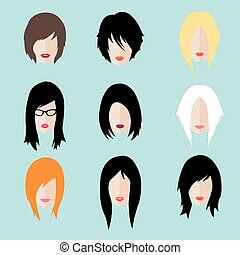 Vector set of woman hipster style haircut, glasses and lips...