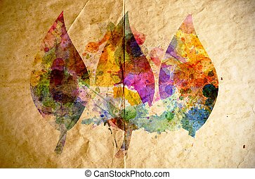 Watercolor leaves, old paper background