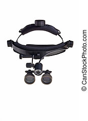 Dental head-mounted loupe isolated over white background.