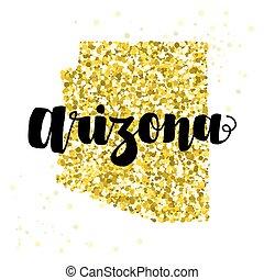 Golden glitter illustration of the state of Arizona with modern lettering