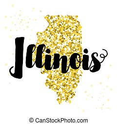 Golden glitter illustration of the state of Illinois with...