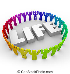 Life Word Diverse People Living Together Peace Harmony -...