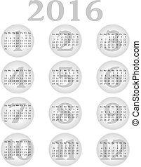 2016 Calendar in Grey