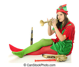 Horn-Tooting Elf - An attractive teen elf tlooking at the...