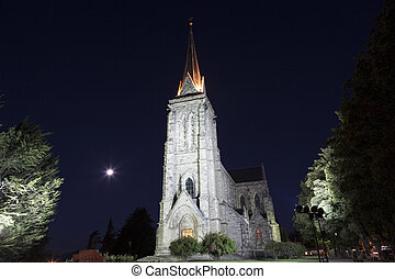 Bariloche Cathedral at night. San Carlos de Bariloche,...