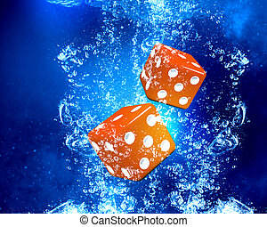 Dice cubes under water - Conceptual image with dice cubes in...