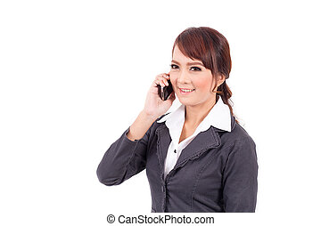 Young business woman holding cellphone on white background
