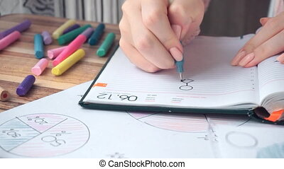 Woman drawing different business math graphs: flowchart,...