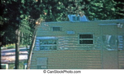 1966: Camping trailer tent and car - Classic vintage 8mm...