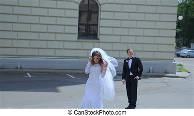 Beautiful wedding couple walking HD