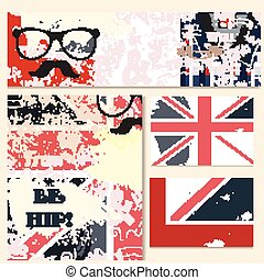 Corporate identity templates in hipster style with shraby British flag and hipster assecories.eps