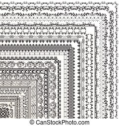Set of vector decorative borders from ornament for design.eps