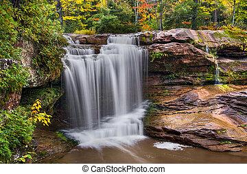 O Kun de Kun Falls Autumn - O Kun de Kun Falls, a plunging...