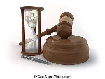 Hourglass of Auction on White Background - Rendering 3...