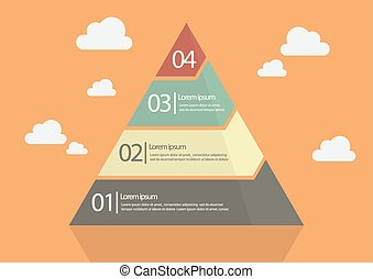 Four Step Pyramid Diagram Flat Style Design