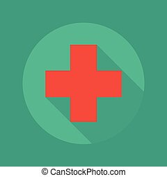 Medical Flat Icon Red Cross - Medical Flat Icon With Long...